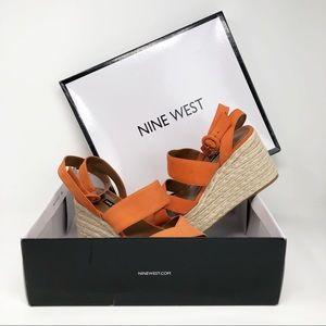 Nine West Orange Kushala Nubuck Wedge Sandal